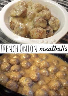 French Onion Meatballs I made some of these for a party recently and everyone just went nuts over them and after the party I started getting texts asking for the recipe! This is definitely a good one! Meat Recipes, Slow Cooker Recipes, Appetizer Recipes, Cooking Recipes, Recipies, Dinner Recipes, Pepperoni Recipes, Jalapeno Recipes, Delicious Appetizers