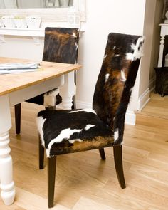 high back cowhide chairs - set of 5 from chairish | for the ranch