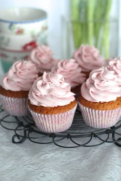 White chocolate cupcakes with lovely raspberry frosting