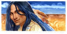 Gouache painting of a Native American by Geraldine Aikman: Released Spirit Many of my paintings have a white border with a quote or part of a poem written in pencil. Stock Art, Gouache Painting, Native Americans, Art Paintings, Poem, Nativity, Disney Characters, Fictional Characters, Art Gallery