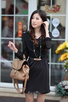Black Chiffon V-Neck Long Sleeves Korean Fashion Elegant Dress With A Belt - $46.16