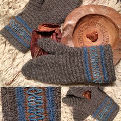 Nålebinding Mittens in Jacobs wool with woad details. neulakinnas , Nalbinded in Mammen stitches . kinnas neulakinnas#Nålebinding #nålbindning #neulakinnas #kinnasneula #needlebinding #naalbinding #nalbinding #Nadelbindung