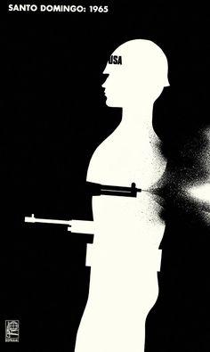 Santo Domingo, Alfredo Rostgaard, 1965 Affiche contre l'intervention militaire américaine à Saint-Domingue en 1965. Alferdo Rostgaard (1943-2004) devient à 20 ans directeur artistique et caricaturiste de Mella, revue de la jeunesse communiste cubaine. il devient ensuite directeur de l'OSPAAL, organisation de solidarité avec les peuples d'Afrique, d'Asie et d'Amérique latine. Considéré comme un des maîtres de l'affiche cubaine, il a été primé de nombreuses fois.