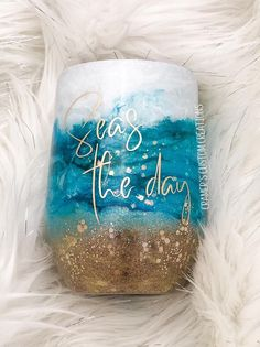 Custom Beach Swirl Glitter Dipped Stainless Steel Tumbler Cup - Products - Welcome Haar Design Glitter Wine, Glitter Cups, Glitter Crafts, Diy Tumblers, Custom Tumblers, Glitter Tumblers, Beach Cups, Tumbler Designs, Cup Design
