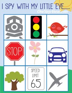 Road trip I SPY free printable from One Step Ahead!