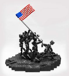 Famous scene: Raising the American Flag (scene created by LEGOLAND Discovery Center Chicago for Memorial Day 2014)