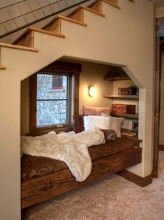 20+ Coziest Rustic Reading Nook Ideas For Winter Hibernation Bed Nook, Cozy Nook, Built In Furniture, Home Furniture, Rustic Staircase, Home Design, Interior Design, Lodge Style, Reading Nook