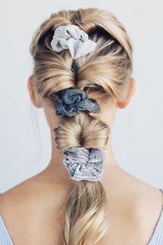 Set of 5 Velvet Scrunchies - Black/Gray