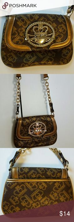 "Kath Zeeland Purse NWOT Cross Body Snap Closure Brown with gold crown design  Back has pocket  Inside. Zipper pocket & open pocket Purse 5 1/2"" L x 7 1/2"" W Strap 24"" Kathy Zealand  Bags Crossbody Bags"