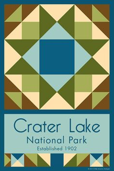 Crater Lake National Park Quilt Block designed by Susan Davis. Susan is the owner of Olde America Antiques and American Quilt Blocks She has created unique quilt block designs to celebrate the National Park Service Centennial in 2016. These are the first quilt blocks designed specifically for America's national parks and are new to the quilting hobby.