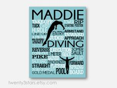 Women's Diving Typography Art Print perfect for Girl's Room Art, You Choose the Colors, Makes a Great Gift for any Diver or Diving Team Gift in blue white and black