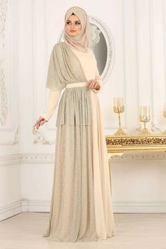 NEVA STYLE DRESS - BEIGE HIJAB EVENING DRESS 103BEJ