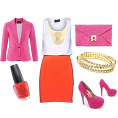 Love the pop of orange... I need every piece of this outfit.