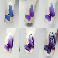 Cómo pintarte increíbles y fáciles diseños para tus uñas - El Cómo de las Cosas Art Deco Nails, Gel Nail Art, Nail Art Diy, Diy Nails, Nail Nail, Butterfly Nail Art, Flower Nail Art, Nail Swag, Acrylic Nail Designs