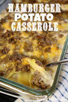 HAMBURGER POTATO CASSEROLE - it's like the old fashioned way of making Hamburger Helper Potato Stroganoff.