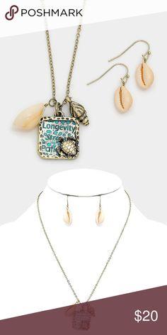 "'Longevity Strength' Necklace Set • Theme : Reptile, Sea Life, Shell  • Necklace Size : 18"" + 3"" L • Pendant Size : 0.75"" X 1"" • Earrings Size : 1"" L • ""Longevity Strength"" Turtle Cut out Disc Pendant & Shell Charm Necklace Jewelry Necklaces"