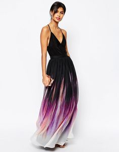 Image 1 ofASOS Maxi Skirt in Smudged Ombre Print