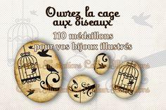 Images digitales pour support cabochon - Planche Oiseaux cages : Images digitales pour bijoux par colleen-illustrations