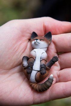 3D bjd doll fox 45 cm with 2 heads by WalloyaMorringShop on Etsy