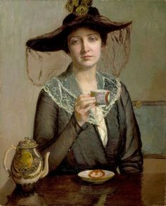Painting by Lilla Cabot Perry an American artist who worked in the Impressionist style. Painting Prints, Fine Art Prints, Tea Art, Turbans, Renoir, Beautiful Paintings, American Artists, Drinking Tea, Impressionist