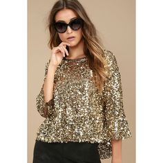 64fde171909f8 Mirage Gold Sequin Top ( 49) ❤ liked on Polyvore featuring tops