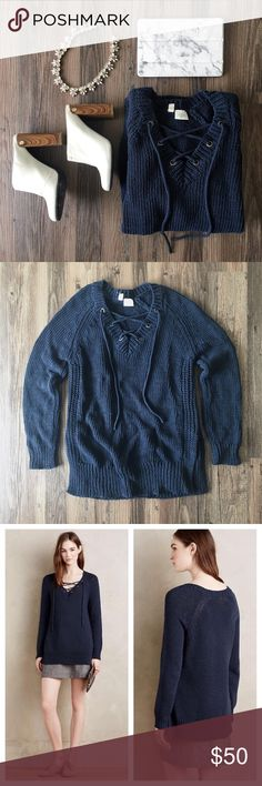HP Lace-up sweater Pre-loved lace-up sweater by Moth from Anthropologie. In great condition! Anthropologie Sweaters