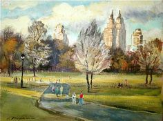 Sunset in Central Park - by Erik Freyman (American artist)