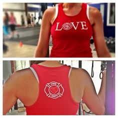 8835f6f23f00c I wear large- XL in tanks are OK. Firefighter LOVE racer back sports tank.