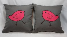 Pair of Gray Decorative Pillows with Pink Bird Design by LenkArt
