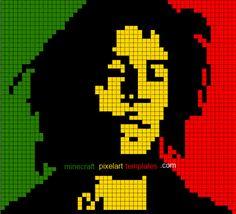 Minecraft Pixel Art Templates: Bob Marley