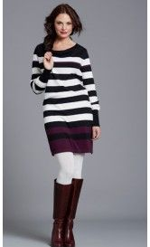 Tara Breastfeeding Sweater Dress Black/White/Aubergine