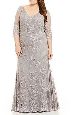 911bf77c945 MGNY Madeline Gardner New York Plus Beaded V-Neck Lace Gown  618 Madeline  Gardner