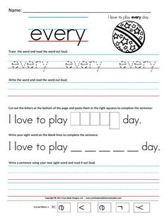 First Grade Sight Words Printable   Free Homeschool Worksheets: First Grade Sight Word Sentences