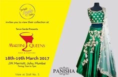 Purple Style Labs Invites You to view the collection of Panisha at Martini Queens #Fashion and #LifestyleExhibition on 18th – 19th March 2017 at JW Marriott Hotel Mumbai Juhu.  For Queries Contact @ 09811923456 #MartiniQueens #Panisha #FashionExhibition #Lifestyle #Designer #Dresses #MumbaiExhibition