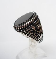 925 Sterling Silver Men's Ring with Black Onyx