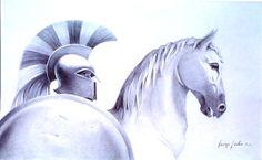 "Giannis Nikou, ""Achilles"" 150Χ95cm, pencil on cardboard, 2009"