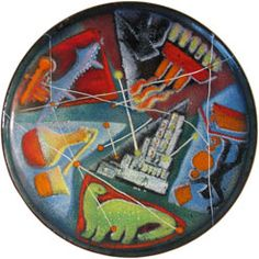 View this item and discover similar for sale at - Colorful and iconographic enamel on copper footed bowl by Pittsburgh artist Virgil Cantini Cantini was a graduate of Carnegie Mellon who was Enamel Dishes, Oil Industry, Outdoor Sculpture, Traditional Art, Contemporary Artists, Sculptures, Copper, Pottery, Plates