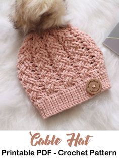853fba76114a2 Make this cabled hat! winter hat crochet patterns - crochet pattern pdf -  amorecraftylife.