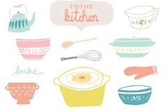 "Vintage Kitchen Clip Art ~~ This ""Vintage Kitchen"" cooking clip art includes some adorable images that are perfect website headers, website graphics, or your next project. Includes a fully loaded EPS Vector File as well as 36 300dpi PNG Images. That's a lot of clip art! For Commercia…"