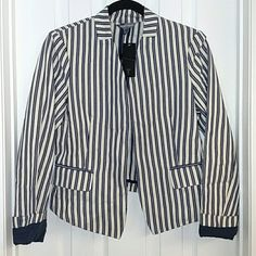 Tinley Road Blazer NWT Tinley Road Blazer, striped navy & off-white, sleeves lined with navy so you can roll them up or leave them down Tinley Road Jackets & Coats Blazers