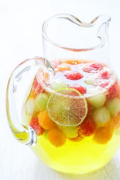 Boozy, bubbly, and refreshing, this Melon Sangria recipe features 3 different kinds of melon and a hint of ginger and lime!