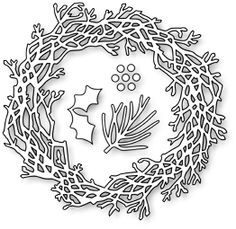 "Twig Wreath - $16.99  	 The Twig Wreath by Impression Obsession is a set of four separate dies wired together which can be separated by snipping the wires. Imagine decorating this wreath for Christmas with the included pine needle, holly and berries!   Or change it to a Fall wreath...or any other occasion!  Wreath 3 1/4"" x 3 1/2"" Pine needle 1"" long Holly 1"" Berries 1/8"""