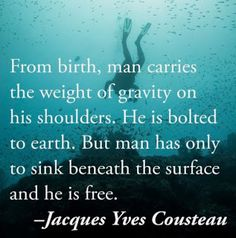 From birth, man carries the weight of gravity on his shoulders. He is bolted to earth. But man has only to sink beneath the surface and he is free - Jacques Yues Cousteau Quotes To Live By, Me Quotes, Crush Quotes, Qoutes, Scuba Diving Quotes, Scuba Diving Tattoo, Jacques Yves Cousteau, Ocean Quotes, Beach Quotes