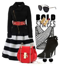 Bold stripes by mavihulett on Polyvore featuring polyvore fashion style Versace Chicwish Ralph Lauren Bling Jewelry Smoke x Mirrors Alexander McQueen clothing