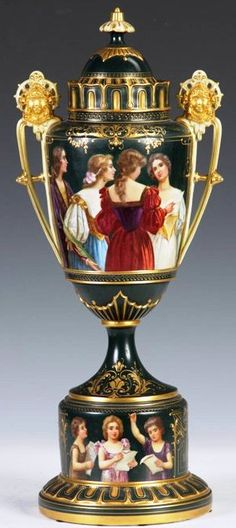 Royal Vienna Porcelain Covered  Urn, Hand Painted Women, Stylized Egyptian Handles with Masks, Green Ground with Gilt, Dome Cover with Floral Finial