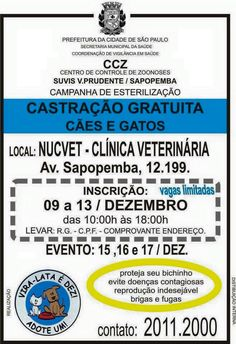 BONDE DA BARDOT: SP: Castração gratuita de cães e gatos em Sapobemba, em dezembro