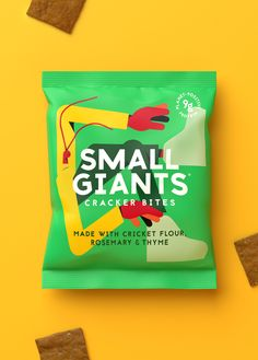 Small Giants Brand / Packaging Design / Insect Snacks / Crickets / Illustration / Sustainable / Taboo / Crackers Brand Packaging, Packaging Design, Branding Design, Cricket Flour, Change Maker, Branding Agency, Design Strategy, Design Agency, Crackers