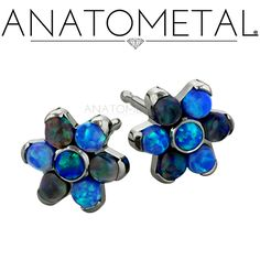 Flower Earrings in ASTM F-136 titanium with synthetic Opals #5 and #14 gems