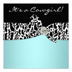 Teal Blue Cow Print Cowgirl Baby Shower Invites! How adorable!