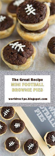 This Is The Great #Food #Brownies #Sport #Pie #Vanilla #Recipes >> MINI FOOTBALL BROWNIE PIES - ~15~ Worldrec1pe Amazing Recipes, Easy Recipes, Great Recipes, Vegan Recipes, Easy Meals, Cooking Recipes, Football Brownies, Vanilla Recipes, My Best Recipe